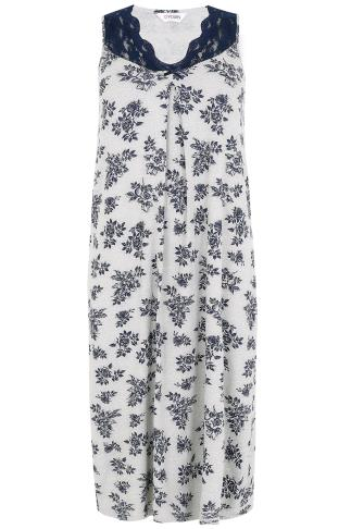 Grey & Navy Floral Print Long Nightdress With Lace Neckline 148027