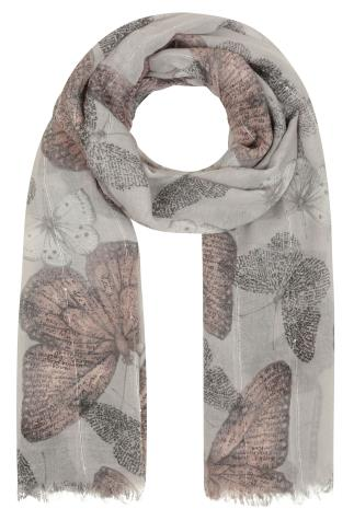 Grey & Neutral Butterfly Print Scarf With Sequin Stripes