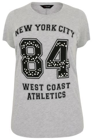 "Grey ""New York City"" Varsity Top With Pearl Details"