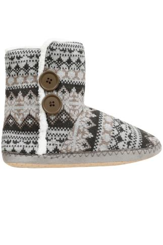 Grey & Oatmeal Fair Isle Knitted Boot Slippers With Fleece Inside