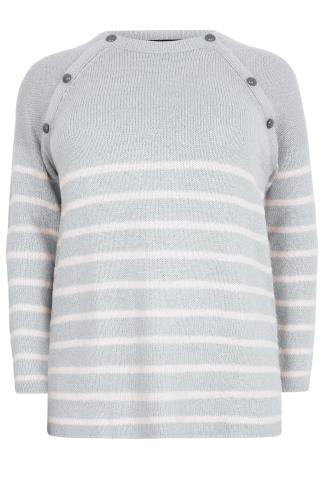 Grey & Pale Pink Stripe Knit Jumper With Grey Buttons