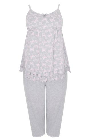 Grey & Pink Butterfly Print Pyjama Top & Cropped Bottoms 148024