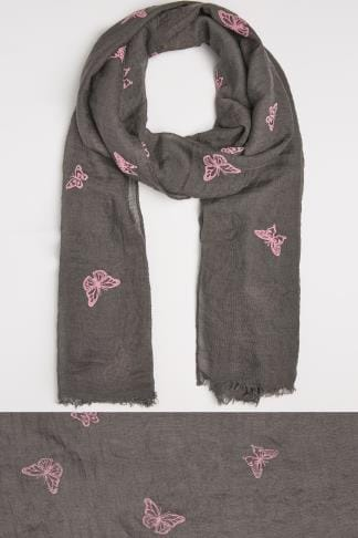 Scarves Grey & Pink Butterfly Print Scarf 152034