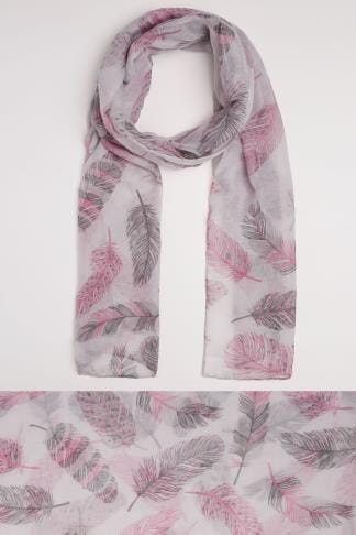 Scarves Grey & Pink Feather Print Scarf 152067
