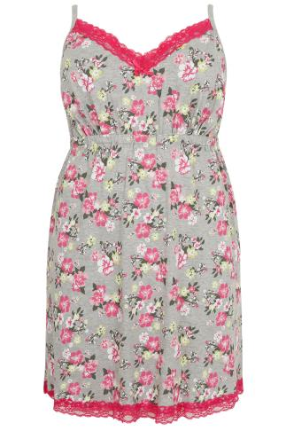 Grey & Pink Floral Print Chemise With Lace Trim