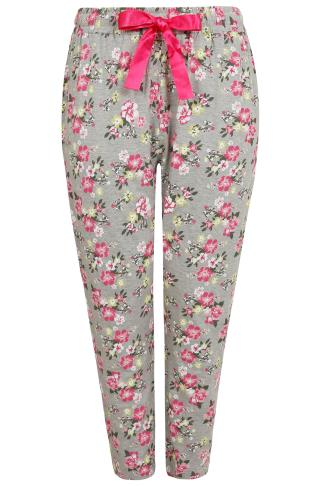 Grey & Pink Floral Print Pyjama Bottoms