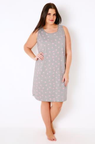 Grey & Pink Heart Print Nightdress