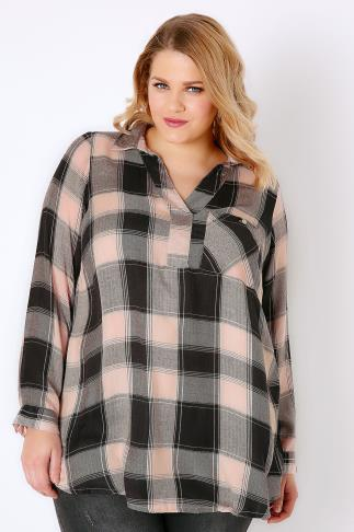 Blouses & Shirts Grey & Pink Oversized Check Shirt With V-Neck 130014