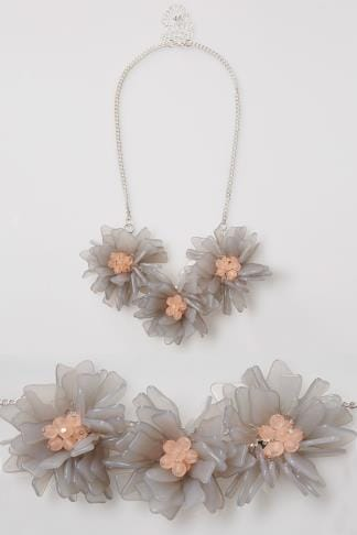 Grey, Pink & Silver Chunky Floral Statement Necklace