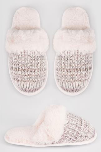 Wide Fit Slippers Grey & Pink Sparkle Knitted Mule Slipper With Faux Fur Cuff 154073