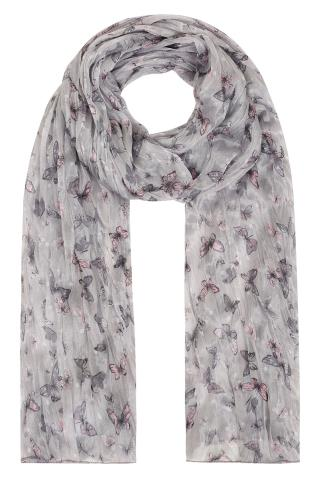 Scarves Grey & Purple Butterfly Print Crinkled Scarf 152060