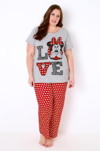 Grey, Red & White Mix Minnie Mouse Disney Pyjama Set 102279