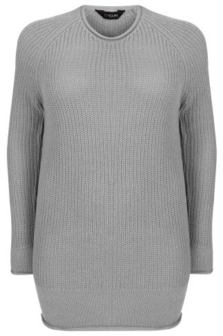 Grey Rolled Edge Knitted Scoop Neck Jumper
