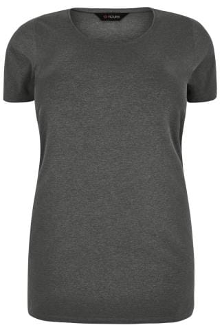Grey Scoop Neck Longline Jersey T-Shirt