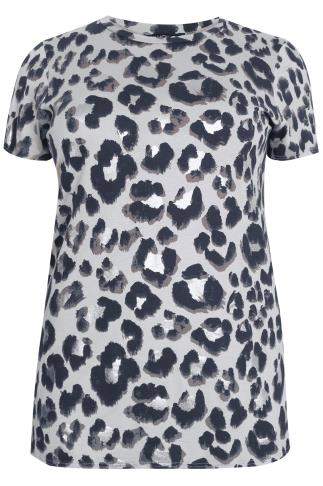 Grey & Silver Leopard Print Top With Side Slits