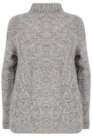Grey & Silver Metallic Cable Knit Jumper