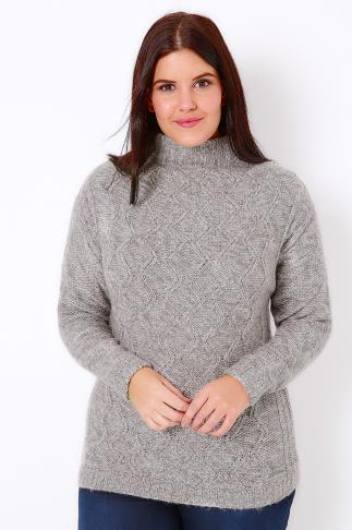Jumpers Grey & Silver Metallic Cable Knit Jumper 100790