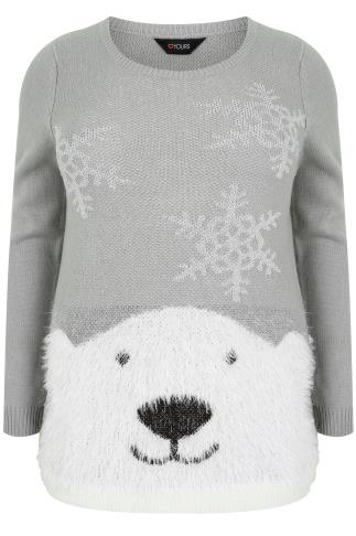 Grey & Silver Polar Bear Knit Christmas Jumper