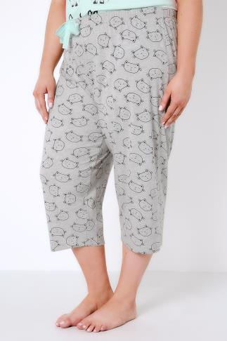 Pyjama Separates Grey Sleeping Cat Print Cropped Pyjama Bottoms 148003