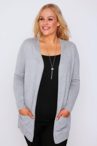 Grey Soft Knit Cardigan With Slouch Pockets