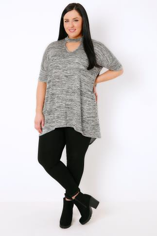 Longline Tops Grey Space Dye Choker Neck Jersey Top With Extreme Dip Back Hem 103345