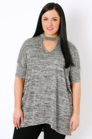 Grey Space Dye Choker Neck Jersey Top With Extreme Dip Back Hem