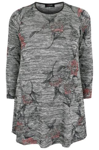 Grey Space Dye Floral Print Fine Knit Swing Top