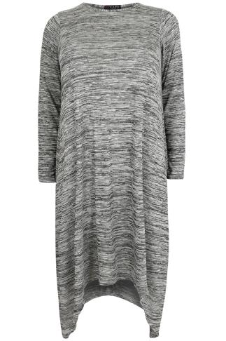 Grey Space Dye Midi Dress With Hanky Hem