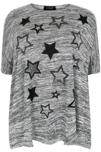 Grey Textured Oversized Batwing Top With Caviar Beaded Star Print