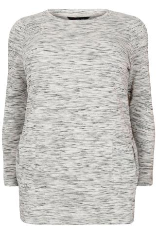 Grey Space Dye Pocket Front Tunic Jumper
