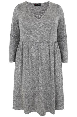 Grey Space Knit Long Sleeve Dress With Lattice V Neck