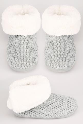 Grey Sparkle Knitted Slipper Boot With Faux Fur Lining & Pom Detail