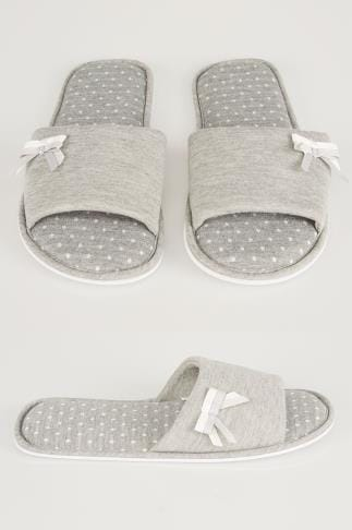 Wide Fit Slippers Grey Spot Slippers With Double Bow Detail 154030