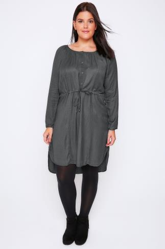 Grey Stitch Detail Long Sleeve Button Up Dress