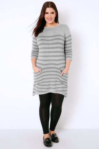 Tunic Dresses Grey Stripe Knitted Tunic With Drape Pockets 102713