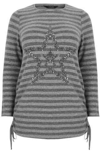 Grey Striped Knitted Jumper With Sequin Embellished Star Design