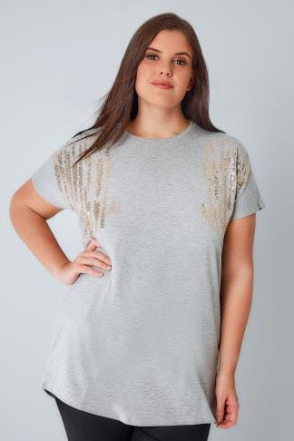 Jersey Tops Grey T-Shirt With Gold Sequin Shoulder Detail 132240