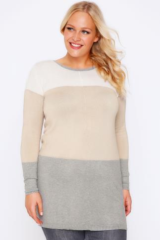 Grey & Taupe Colour Block Stripe Jumper With Silver Shoulder Zips