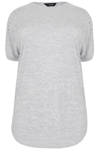 Grey Textured Zip Cold Shoulder Longline Top With Stud Detail