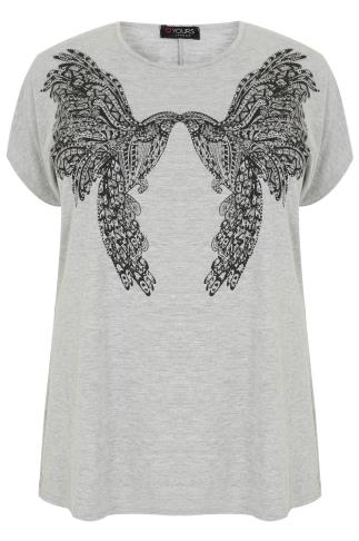 Grey Twin Bird Print Embellished T-Shirt