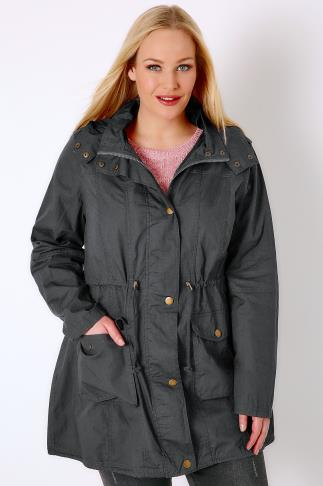 Parkas Grey Washed Lightweight Parka With Hood 102743