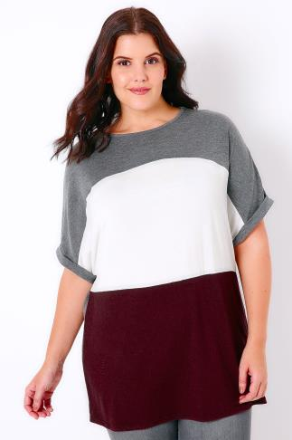 Grey, White & Burgundy Colour Block Stripe T-Shirt