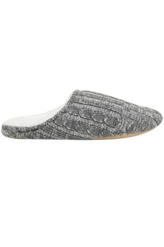 Grey & White Knitted Slippers With White Fleece Inside