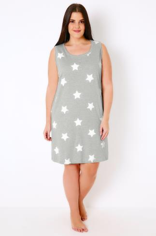 Grey & White Star Print Sleeveless Nightdress