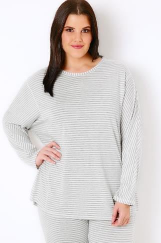 Pyjama Separates Grey & White Stripe Long Sleeve Pyjama Top 102303