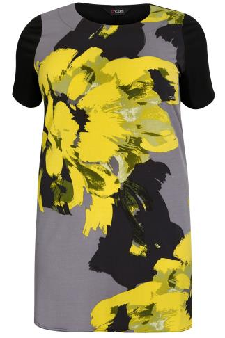 Grey & Yellow Brushstroke Pansy Print Longline Top