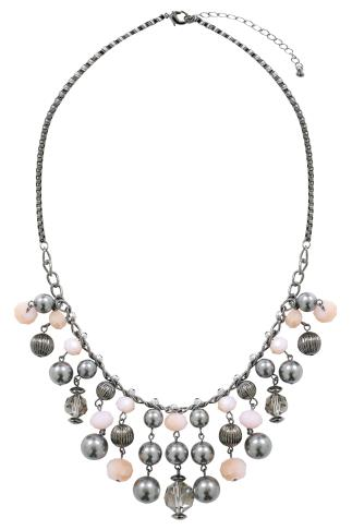 Gunmetal Multi Bead Trim Necklace 152121