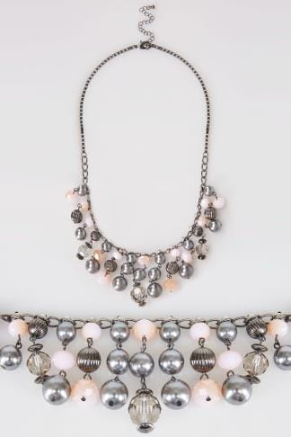 Necklaces Gunmetal Multi Bead Trim Necklace 152121