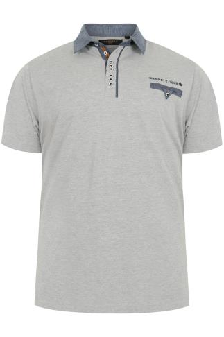 HAMNETT Grey & Blue Short Sleeve Polo Shirt