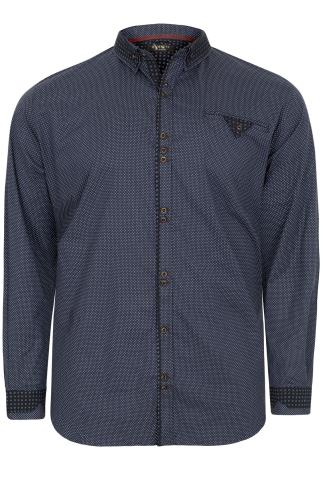 HAMNETT Navy Dotted Mallan Shirt With Double Collar Detail